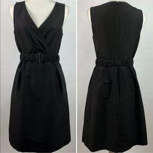 Halogen Dress Silk Blend Belted V-neck w/ Pockets